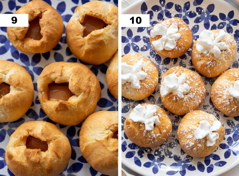 final steps to make air fryer caramel cream puffs