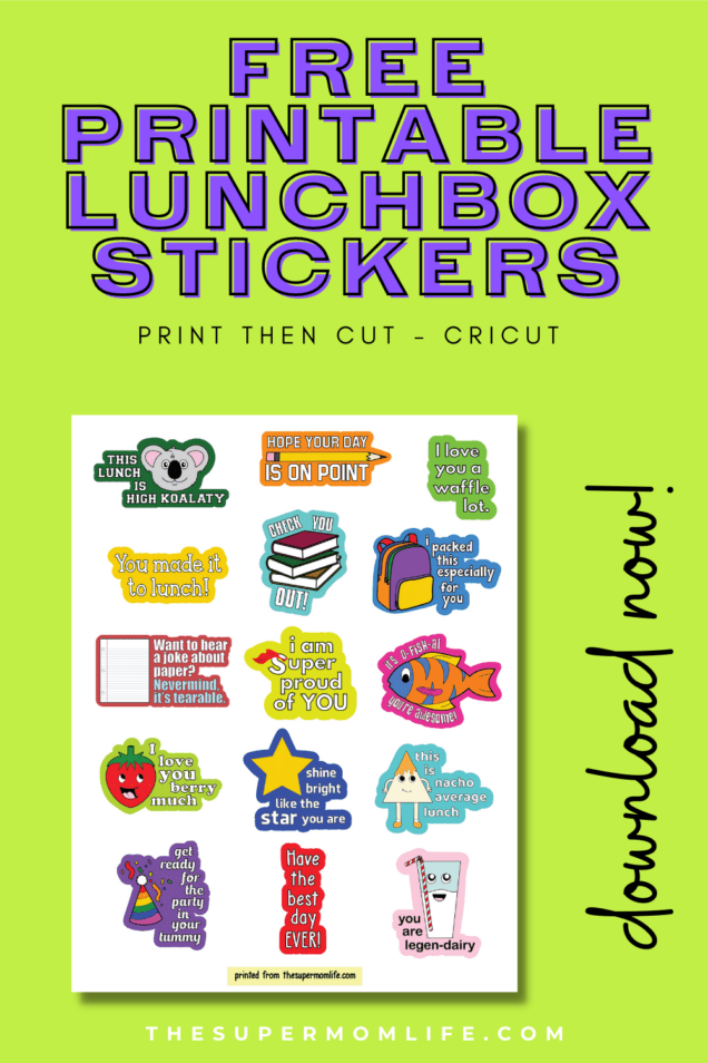 Make your lunchbox notes to your kids even sweeter with these free printable lunchbox stickers. All you need is a Cricut and a printer!