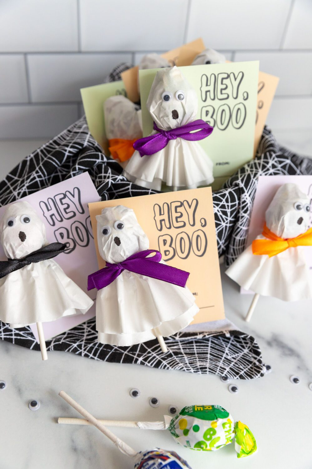 lots of cute halloween cards and lollipops