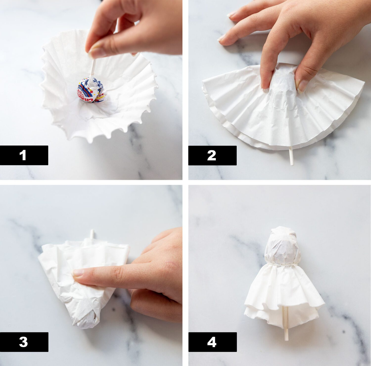 steps to make a ghost lollipop