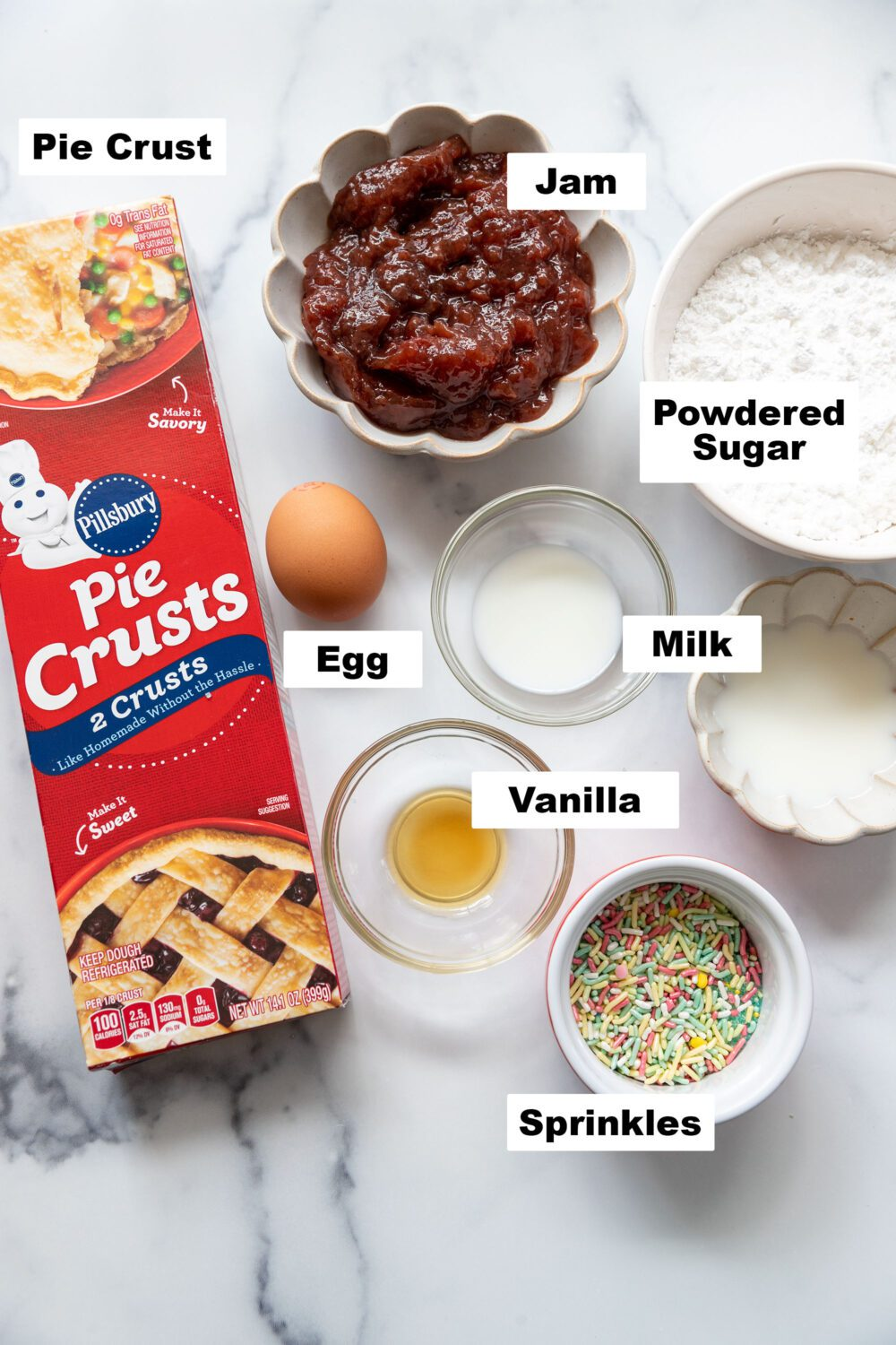 list of ingredients to make toaster pastries