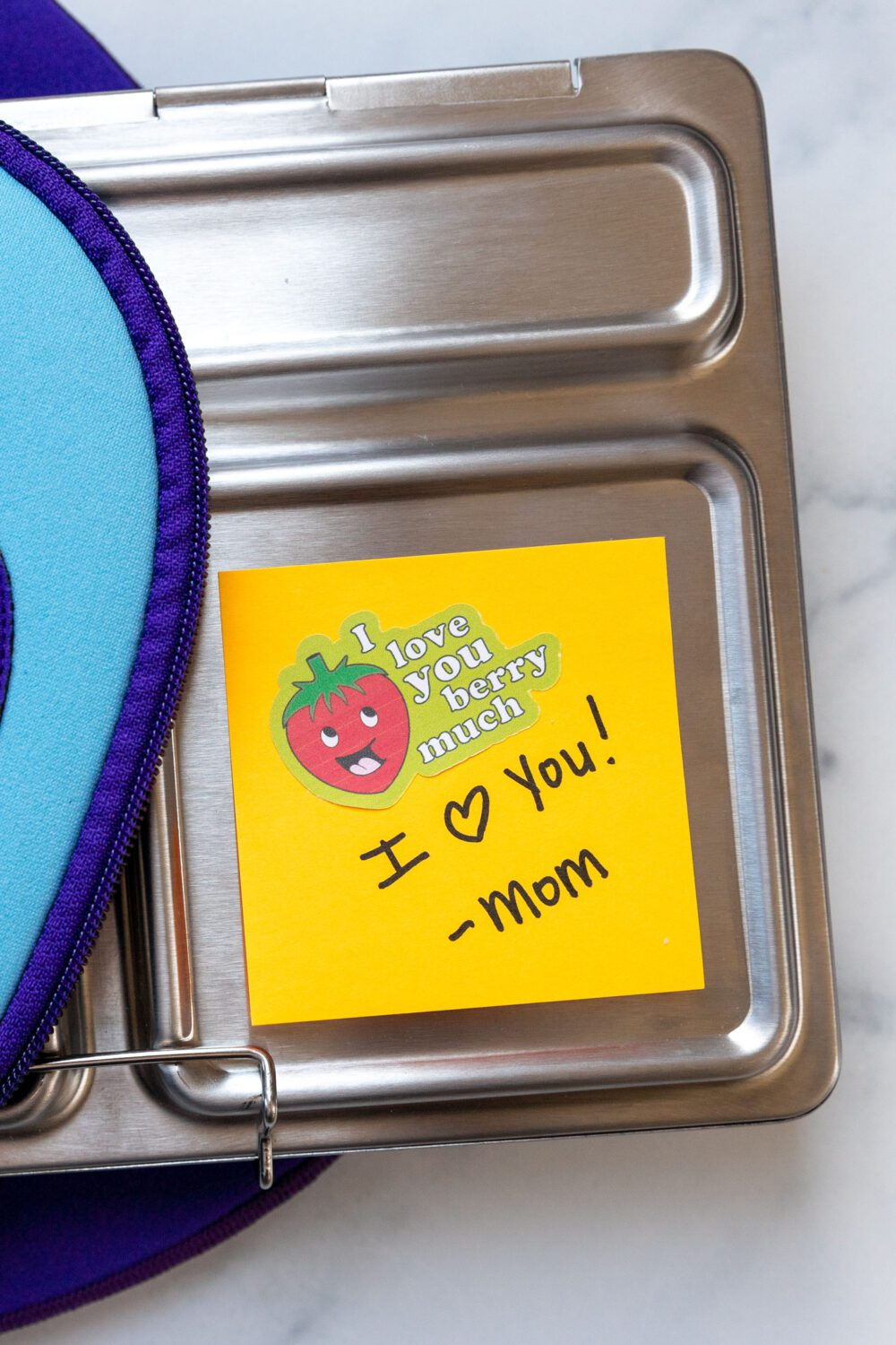 note from mom made with lunchbox stickers