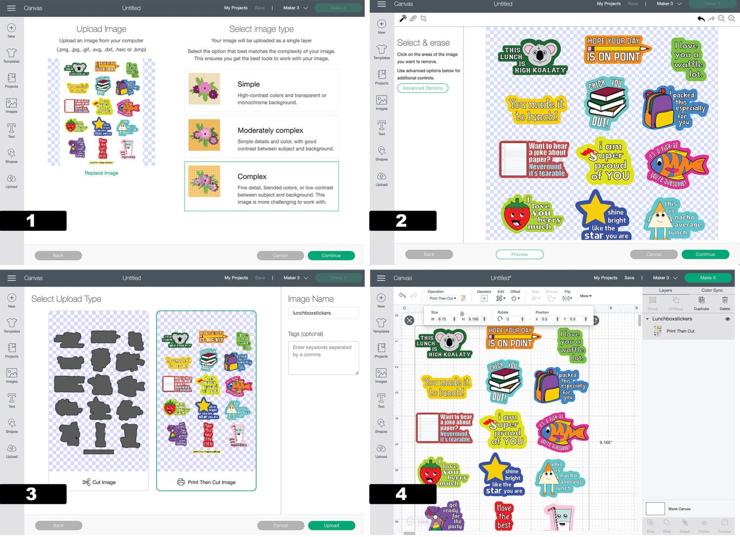 steps to make printable lunchbox stickers