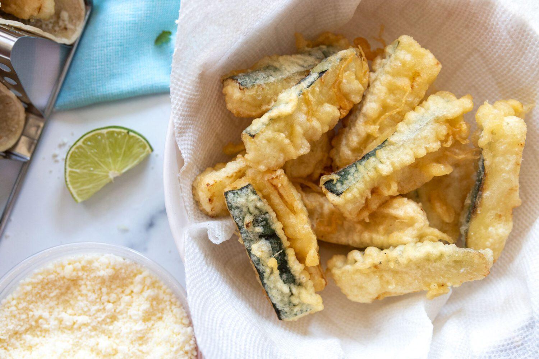 tempura battered zucchini in a bowl