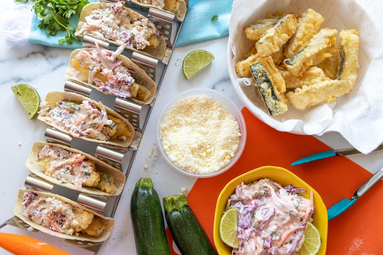 aerial view of everything you need to make zucchini tempura tacos