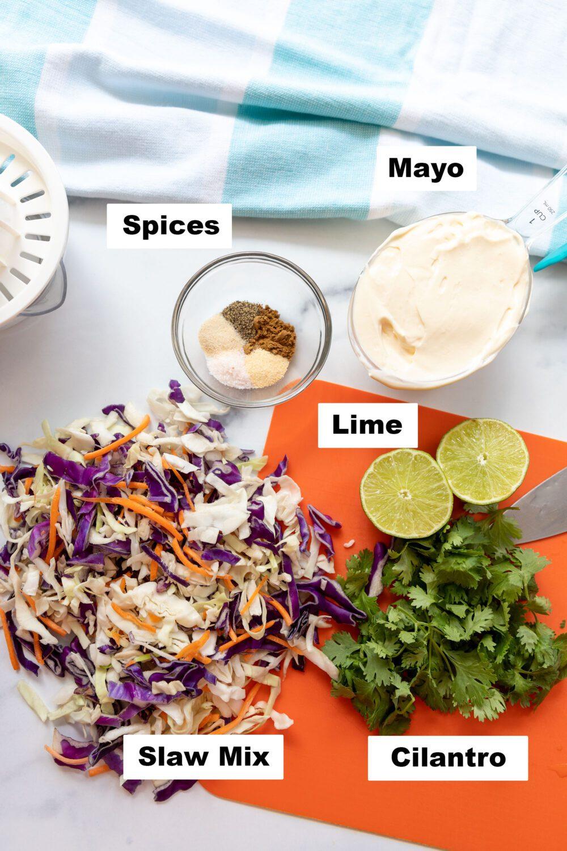 ingredients needed to make cilantro lime slaw