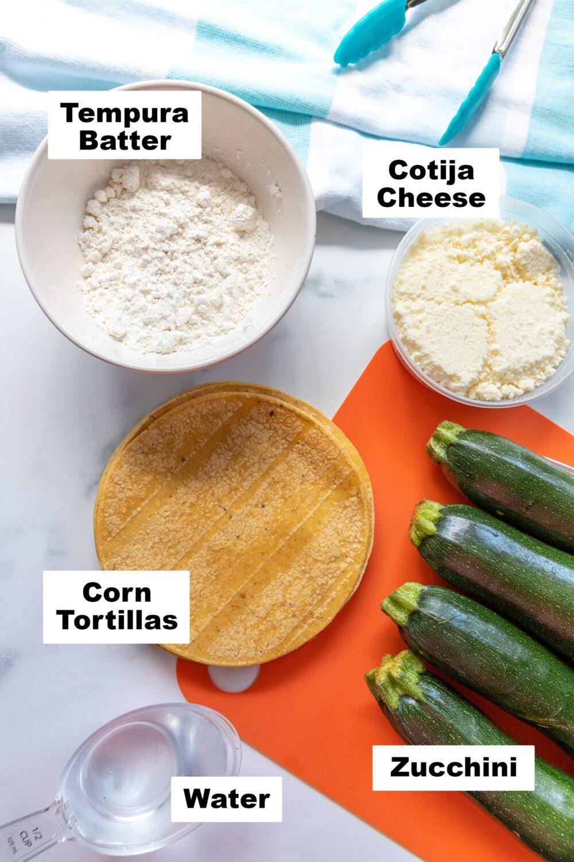 ingredients needed to make zucchini tempura tacos