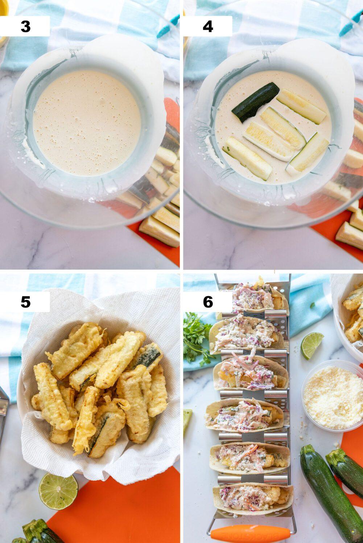 steps to make zucchini tempura tacos