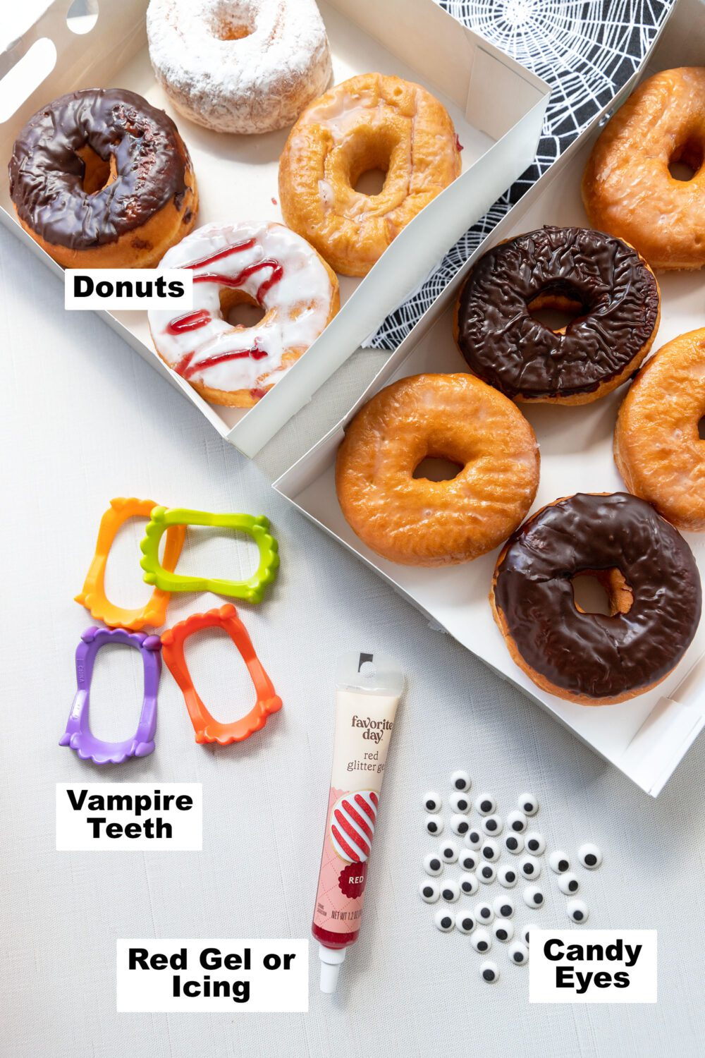ingredients and supplies needed to make donut vampires