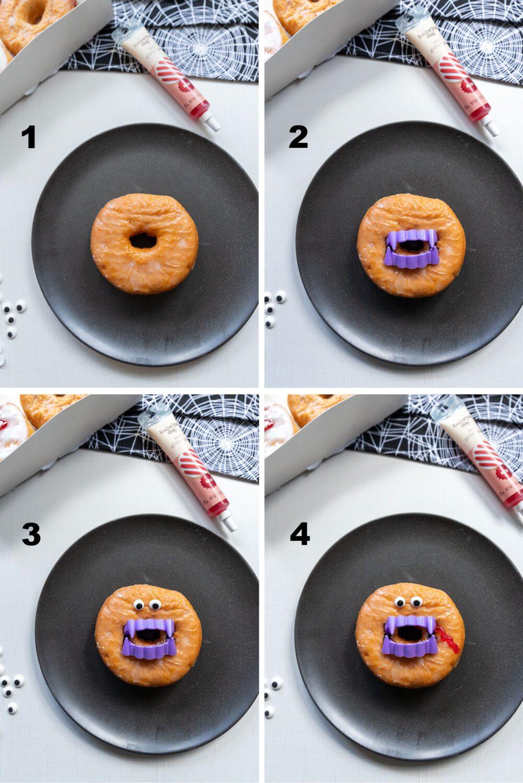 steps to make a donut into a vampire