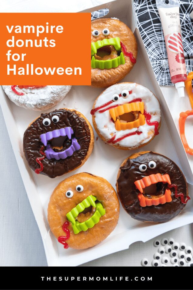 These vampire donuts are an easy and fun treat that you and your kids can make together on Halloween. All you need are 4 things and 5 minutes!